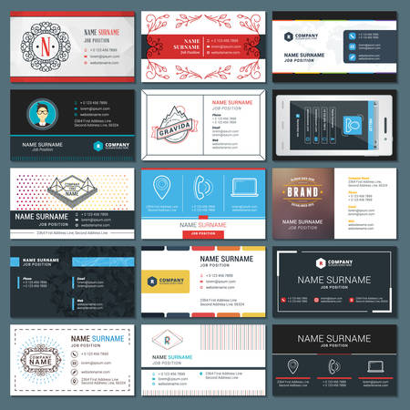 business card template: Set of Modern Creative Business Card Templates Illustration