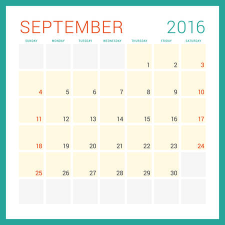 Calendar 2016. Vector Flat Design Template. September. Week Starts Sunday