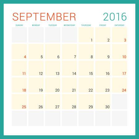 calendario octubre: Calendario 2016 del vector plantilla de diseño plano. Septiembre. Semana comienza el domingo