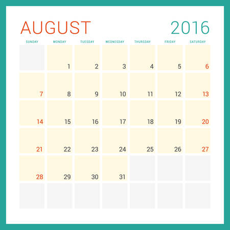 template: Calendar 2016. Vector Flat Design Template. August. Week Starts Sunday Illustration