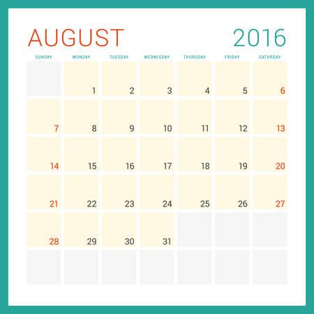 calendario diciembre: Calendario 2016 del vector plantilla de dise�o plano. Agosto. La semana comienza el domingo