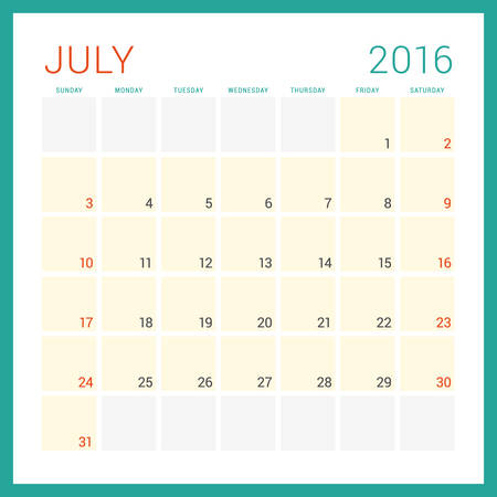 february: Calendar 2016. Vector Flat Design Template. July. Week Starts Sunday Illustration