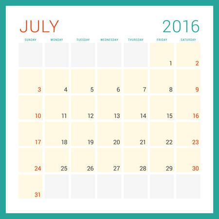 calendario octubre: Calendario 2016 del vector plantilla de dise�o plano. Julio. La semana comienza el domingo