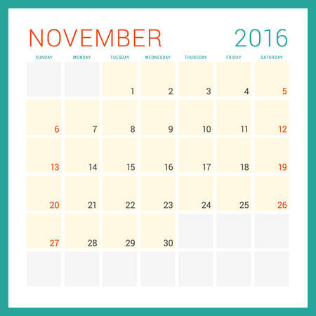 Calendar 2016 Vector Flat Design Template November Week Starts Sunday