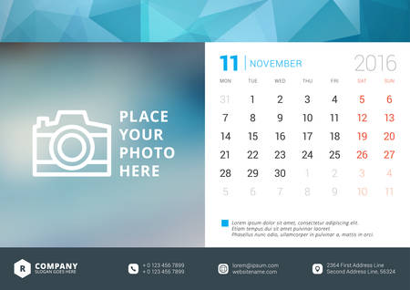 desk calendar: Desk Calendar 2016 Vector Design Template. Week Starts Monday