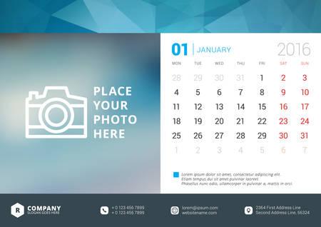 calendrier: Desk Calendar 2016 Vector modèle de conception. Semaine commence lundi