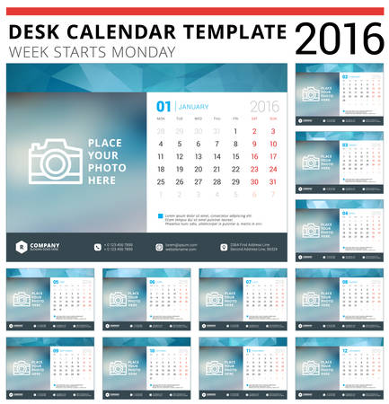 business desk: Desk Calendar 2016 Vector Design Template. Set of 12 Months. Week Starts Monday