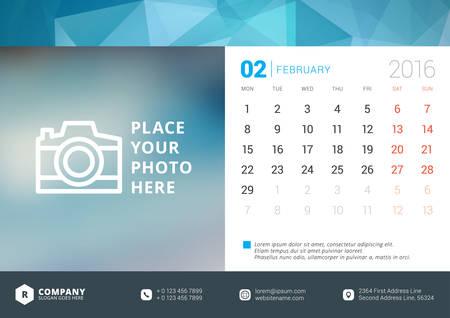 kalendarz: Biuro Kalendarz 2.016 Wektor szablonu projektu. Tydzień zaczyna się w poniedziałek Ilustracja