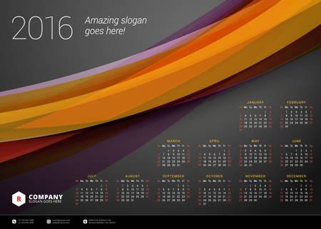 Calendar 2016 Vector Design Template. Week Starts Sunday