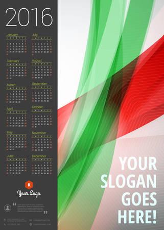 calendario noviembre: Calendario 2016 del vector plantilla de dise�o. Semana comienza el domingo Vectores