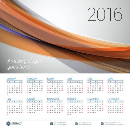 calendario julio: Calendario 2016 del vector plantilla de diseño. Semana comienza el domingo Vectores