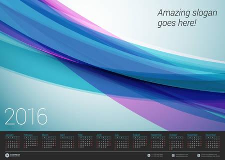 calendrier: Calendrier 2016 Vector mod�le de conception. Semaine commence dimanche