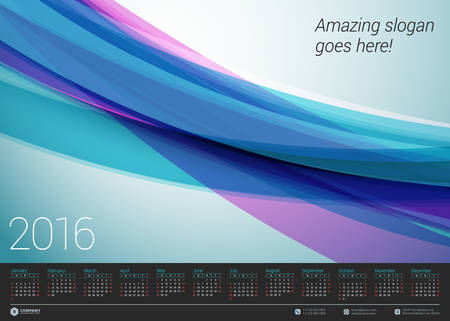 kalendarz: Wektor kalendarz 2016 Szablon. Tydzień zaczyna się w niedzielę