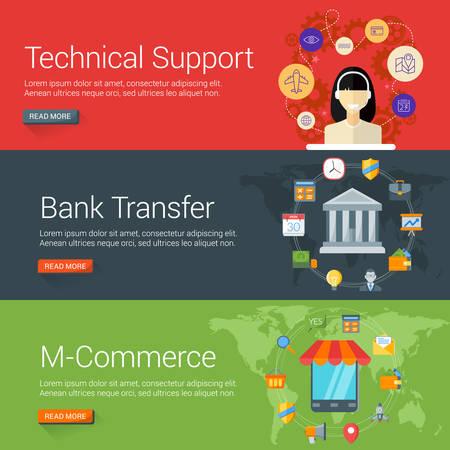bank overschrijving: Flat Design Concept. Set van vector illustraties voor webbanners. Technical Support, bankoverschrijving, M-Commerce
