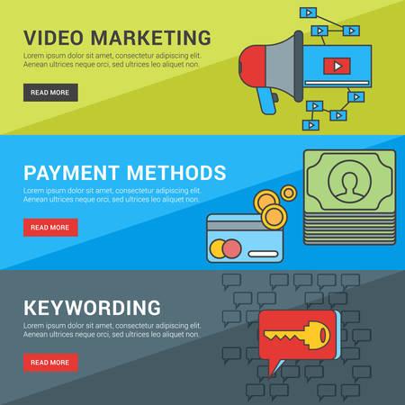 keywording: Flat Design Concept. Set of Vector Illustrations for Web Banners. Video Marketing, Payment Methods, Keywording