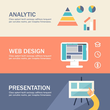 analytic: Set of Flat Design Concepts for Web Banners and Promotional Materials. Analytic, Web Design, Presentation