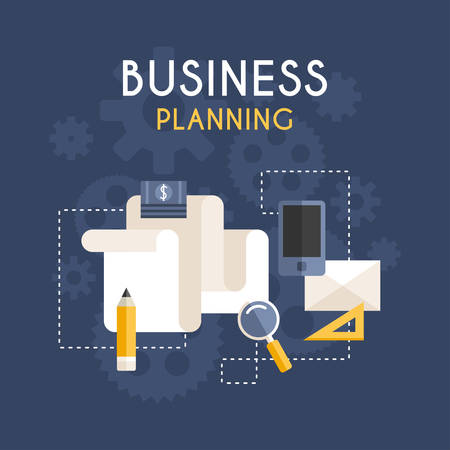 business planning: Flat Design Vector Business Concept. Business Planning