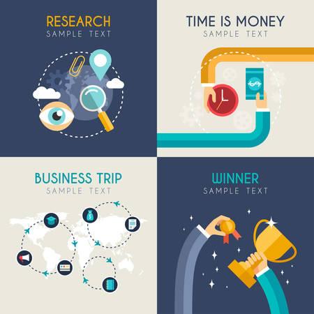 viaje de negocios: Conjunto de planos vectoriales negocio de ilustraciones. Investigaci�n, El tiempo es dinero, Viaje de negocios, ganador