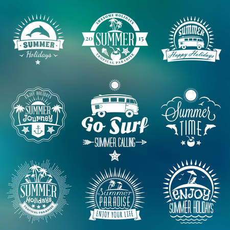 water animal bird card  poster: Summer Holidays Design Elements. Set of Hipster Vintage Logotypes and Badges on Colorful Background