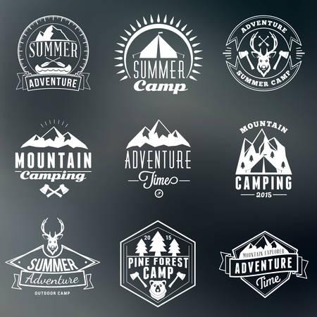 logotypes: Summer Holidays Design Elements. Set of Hipster Vintage Logotypes and Badges on Colorful Background