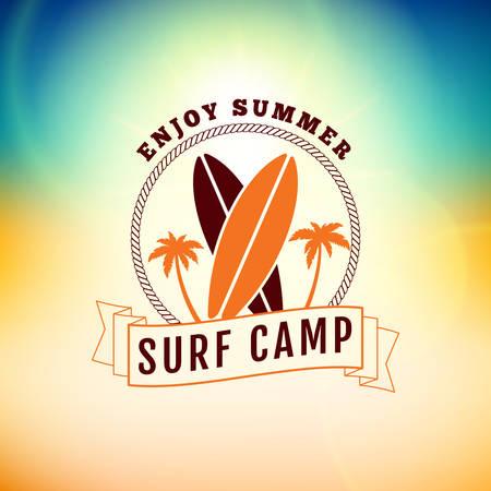 summer camp: Vintage Hipster Summer Holidays Label or Badge. Vector Design Element on Coloful Summer Background