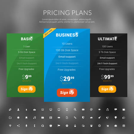 featured: Vector Pricing Table in Flat Design Style for Websites and Applications Illustration