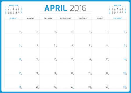 planner: Calendar Planner 2016. Vector Design Template. April. Week Starts Sunday Illustration