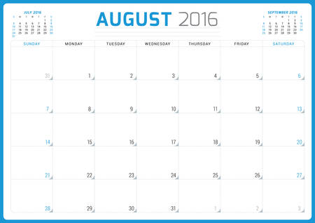 august: Calendar Planner 2016. Vector Design Template. August. Week Starts Sunday Illustration