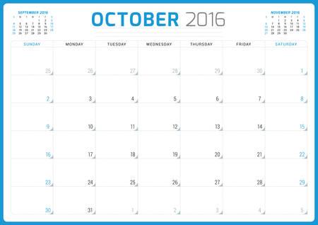 week planner: Calendar Planner 2016. Vector Design Template. October. Week Starts Sunday Illustration