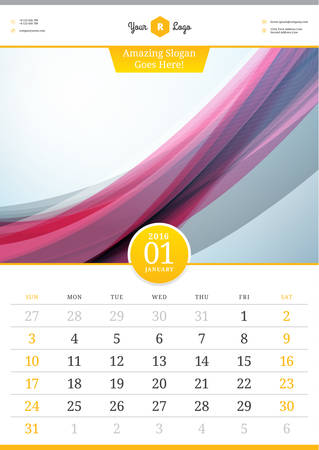 january: Wall Calendar 2016. January. Vector Template with Abstract Background. Week Starts Sunday