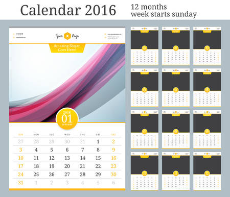 calendar: Wall Calendar 2016. Vector Template with Place for Photo. 12 Months. Week Starts Sunday. Illustration
