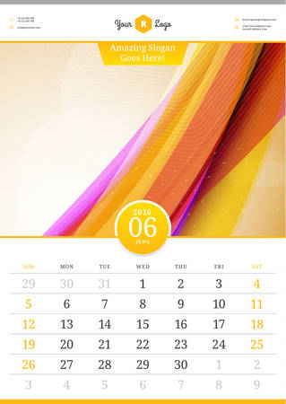 june: Wall Calendar 2016. June. Vector Template with Abstract Background. Week Starts Sunday Illustration