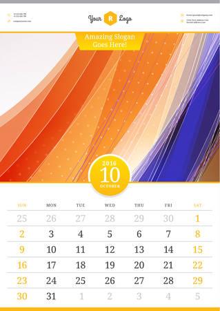 calendario octubre: Calendario de pared 2016 octubre. Plantilla de vectores con fondo abstracto. Semana comienza el domingo