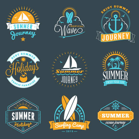water animal bird card  poster: Summer Holidays Design Elements. Set of Hipster Vintage  Badges in Three Colors on Dark Background