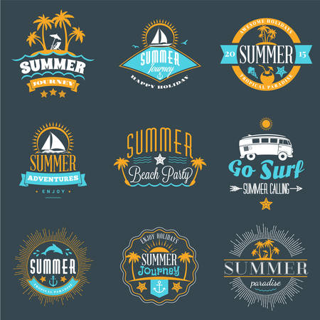 stocks: Summer Holidays Design Elements. Set of Hipster Vintage  Badges in Three Colors on Dark Background