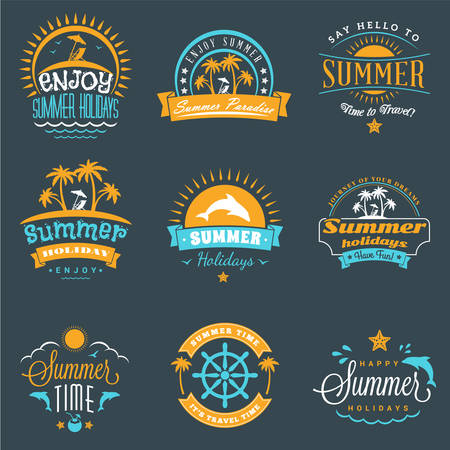 dolphin: Summer Holidays Design Elements. Set of Hipster Vintage  Badges in Three Colors on Dark Background