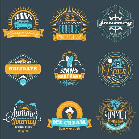 Summer Holidays Design Elements. Set of Hipster Vintage  Badges in Three Colors on Dark Background