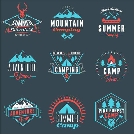 canoeing: Summer Holidays Design Elements. Set of Hipster Vintage  Badges in Three Colors on Dark Background