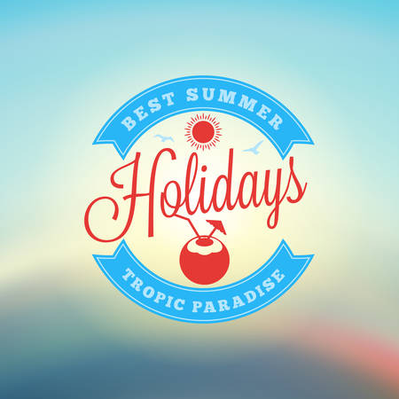 coloful: Vintage Hipster Summer Holidays Label or Badge. Vector Design Element on Coloful Summer Background