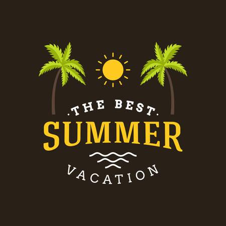 summer trees: Summer Holidays Hipster Vintage Label or Badge. Vector Design Element Illustration