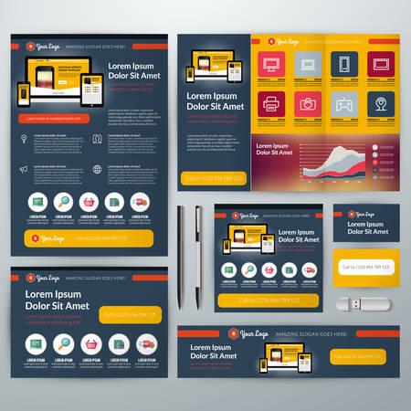 flyer: Set of Stationery Design Templates. Flyer, Booklet, Leaflet, Business Card, Banner
