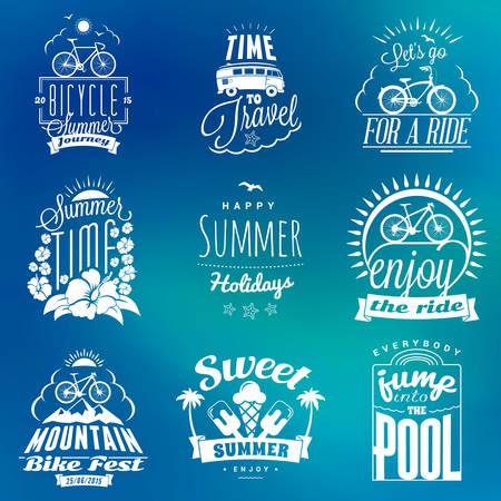water animal bird card  poster: Set of Summer Holidays Badges. Hipster Vintage  Design Elements Illustration