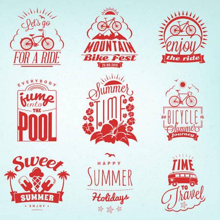 logotypes: Set of Summer Holidays Badges. Hipster Vintage Logotypes and Design Elements