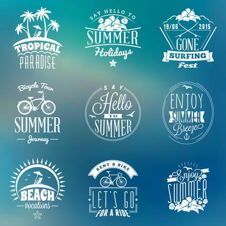 water animal bird card  poster: Set of Summer Holidays Badges. Hipster Vintage Design Elements