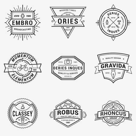 bycicle: Set of Thin Line Hipster  Insignias Illustration