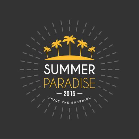 sundown: Retro Summer Holidays Vintage Label. Vector Design Elements Illustration