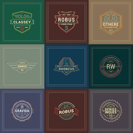 retro badge: Set of Hipster Retro Badges, Labels, Logotypes. Vector Design Templates