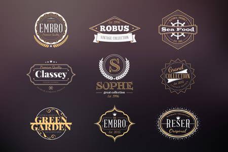 Set of Hipster Retro Badges, Labels, Logotypes. Vector Design Templates