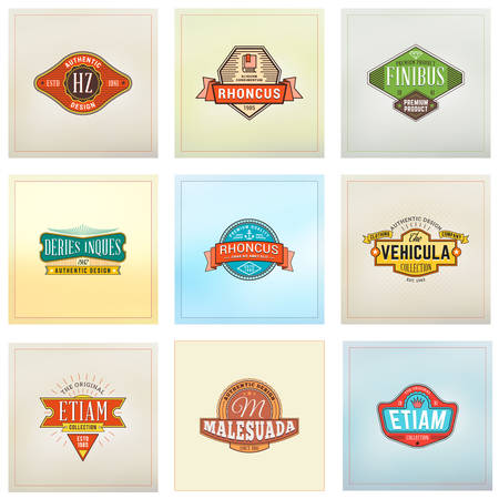 simple border: Set of Hipster Retro Badges, Labels, Logotypes. Vector Design Templates