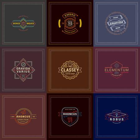 vintage colors: Set of Hipster Retro Badges, Labels, Logotypes. Vector Design Templates